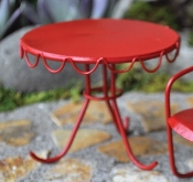 Retro Patio Table - Red For Fairy Gardens