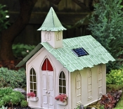 Church with Solar Lights for Fairy Garden