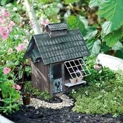 Birder's Cottage For Miniature Fairy Gardens
