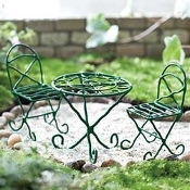 Hunter Green Bistro Set For Miniature Fairy Gardens