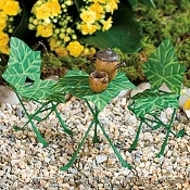 Ivy Leaf Bistro Set For Miniature Fairy Gardens
