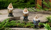 3 Pc Oliver, Pumpkin, and Carlyn Gnome Set For Fairy Gardens