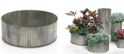 "10"" Galvanized Round Container For Fairy Gardens"