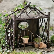 Wildwood One-Sided Steel Pavillion For Miniature Fairy Gardens