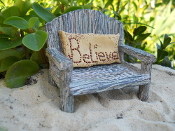 Whitewashed Bench With Believe Pillow For Mini Fairy Gardens