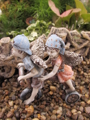 Chili and Jon, Fairy Bicycling Twins, For Miniature Fairy Garden