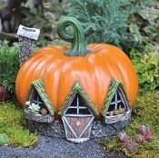 Pumpkin House For Miniature Fairy Garden - Lighted