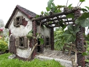 "9.75"" Summer Cottage For Pergola For Miniature Fairy Gardens"