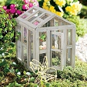 Wooden Butterfly House/Greenhouse with Flower Birdbath