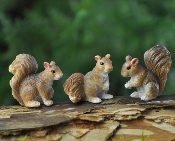 Squirrels - Set of 3 - For Miniature Fairy Gardens
