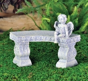 Curved Cherub Bench for Miniature Fairy Gardens