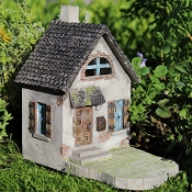 Mini Hollybrook House for Fairy Gardens with Swinging Door