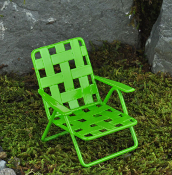 "Green Metal ""Webbed"" Chair For Miniature Fairy Gardens"