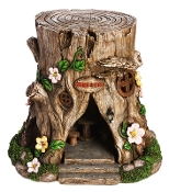 "16"" ""Statement Piece"" Large Solar Lighted Tree Stump Fairy House"