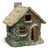 Thatched Roof Cobblestone House For Miniature Fairy Gardens