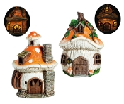 Set/2 Lighted Mushroom Houses for Miniature Gardens - EXCLUSIVE