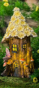 "13"" Lighted Yellow Daisy House for Miniature Gardens - EXCLUSIVE"