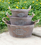 Metal Garden Containers with Rope Handle-Click Options for Size
