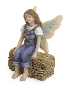 Tina the Fairy Sitting on Haystack for Miniature Fairy Gardening