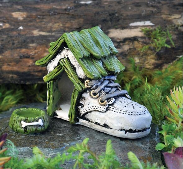 ... Baby Shoe Dog House With Dog Bowl For Miniature Fairy Gardens