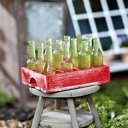 Crate of Soda/Beer Bottles for Miniature Fairy Gardens