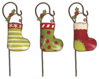 Set of Three Stockings on Hooks for Fairy Garden