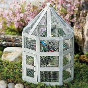 SALE! Screened Gazebo With Songbird Tree Stake For Fairy Gardens