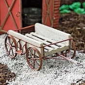 Rustic Wood and Metal Wagon For Miniature Fairy Gardens