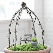 Leaves and Vine Simple Arched Arbor for Fairy Gardens