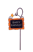 Happy Harvest Sign on Pole for Miniature Fairy Gardens
