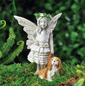 Clover the Fairy With Dog Charlie for Miniature Fairy Gardens