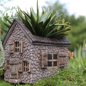 Mill House Fairy House with Planter For Miniature Fairy Gardens