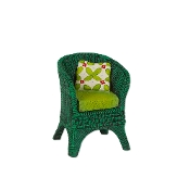 Green Wicker Chair for Merriment Mini Fairy Gardening