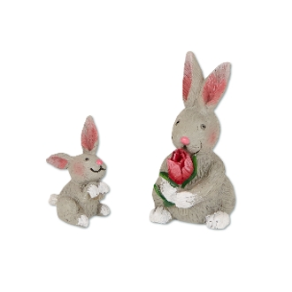 Set/2 Rabbit Family for Merriment Mini Fairy Gardening