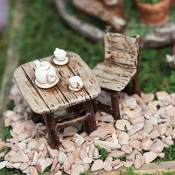 Tea Party Table and Chair Set For Miniature Fairy Gardens