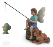 Gone Fishin - Fairy with Dog - For Miniature Fairy Gardens