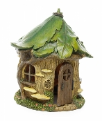 Forest House with Leafy Roof For Miniature Fairy Gardens