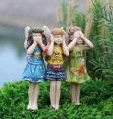 No Gnome (Speak, Hear, See) Trio for Miniature Fairy Gardens