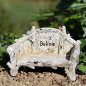 Believe Bird Bench for Miniature Fairy Gardens