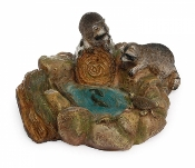Raccoon Fairy Pond with Fish For Miniature Gardens