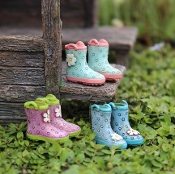 Set of 3 Fairy Rain Wellie Boots Accessory For Miniature Gardens
