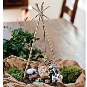"17"" Bamboo Tripod Accent For Miniature Fairy Gardens"
