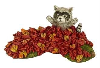 Racoon in Leaves for Merriment Mini Fairy Gardening