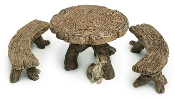 Log Table and Chairs for Miniature Fairy Gardens