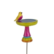 Colorful Birdbath with Bird for For Gypsy Fairy Gardens
