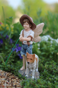 Oliver the Fairy with Dog for Miniature Fairy Gardens