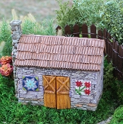 Barn with Barn Quilts for Miniature Fairy Gardens