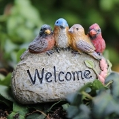 Welcome Rock with Songbirds for Miniature Fairy Gardens