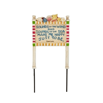 Sounds of the Wind Beach Sign for Merriment Mini Fairy Gardening