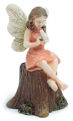 Fairy on Stump Sharing a Safe Secret For Miniature Fairy Gardens